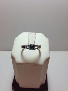 10k White Gold Sapphire & Diamond Ring only $150!  www.goldassayinc.com