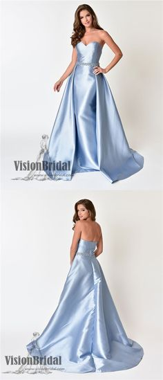 Sweetheart Light Blue With Beaded Prom Dress, Open Back Soft Satin Floor Length Prom Dress, VB0109 #promdress