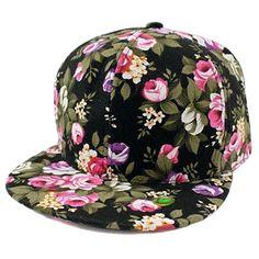 Women Girl Rose Flower Floral Print Snapback Bill Cap Black