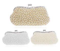 Luxury Women's Pearl Handbag Clutch Purse Elegant Bridal Party Prom Evening Bags #New #Clutch