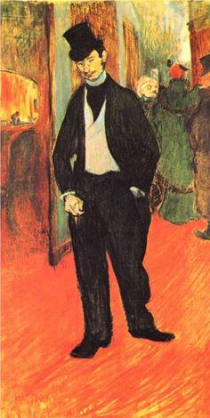 """Toulouse-Latrec """"Gabriel Tapie de Celeyran"""" A painting of Latrec's frequent companion at the Moulin-Rouge, this picture has an exquisite use of colour. Henri De Toulouse Lautrec, Paul Gauguin, Maurice Utrillo, André Derain, Renoir, Klimt, William Morris, French Art, Famous Artists"""