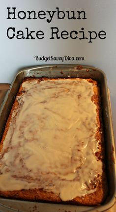 Honeybun Cake Recipe - uses box yellow cake and ingredients I always have around. Will keep this recipe handy for when I have company over.
