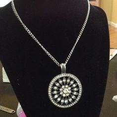Sparkling sacred geometry rhinestone necklace Eye catching sacred geometry style short necklace with a Sunburst on the pendant with rhinestones silver and gunmetal Jewelry Necklaces