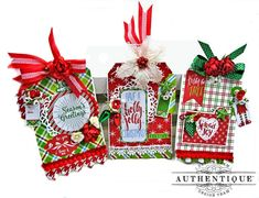 Authentique Jolly Christmas Gift Tags by Kathy Clement Photo 2 Christmas Flowers, Christmas Ribbon, Christmas Gift Tags, Visiting Teaching Gifts, Burlap Flowers, Shaker Cards, Merry Little Christmas, Easy Diy Crafts, Tag Art