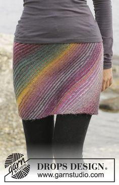 "Knitted DROPS skirt in garter st with short rows in ""Delight"". Size S-XXXL. ~ DROPS Design"
