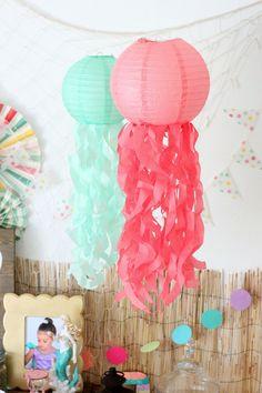 Mermaid Party Ideas: DIY jellyfish paper lanterns via Elevate Everyday
