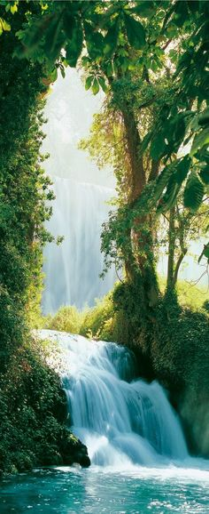 Magical & whimsical waterfall scene. Looks like this is a illustration from a fairytale