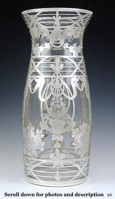 Hand blown glass with silver overlay Art Nouveau vase.