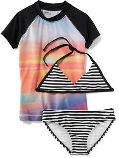 f33667f2f50ea 3-Piece Rash Guard and Bikini Swim Set for Girls Swim Sets, Rash Guard