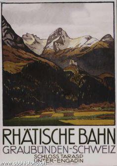 Rhätische Bahn, Graubünden, Schweiz, Schloss Tarasp, Unter-Engadin