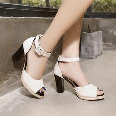 New thick heel summer shoes women sandal high heels peep toe platform pumps ankle strap white sandals woman sandalias femininas