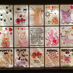 A stunning Gelwonder Window Competition entry from Eclettico in Colchester! Their chosen charity is the Poppy's Place Animal Rescue :) #Gelwonder #GelwonderWindowCompetition #window #display #art #creative