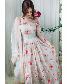 """""""Spring ready in soft grey with gold & coral tones Anarkali Dress, Pakistani Dresses, Indian Dresses, Indian Outfits, Lehenga Saree, Anarkali Suits, Indian Attire, Indian Wear, Traditional Fashion"""