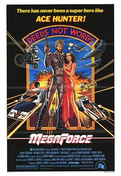 Retro camouflaged motorcycles that shoot on board rockets and machines AND can fly.... Yeah, that's MEGAFORCE.