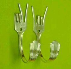 Upcycled forks.  Peace & Hook'em! great for hallway backpacks & coats