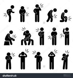Body Ache Pain Backache Headache People Icon Sign Symbol Pictogram