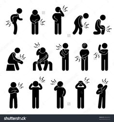 Body Ache Pain Backache Headache People Icon Sign Symbol Pictogram