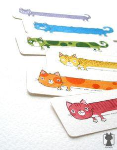 Red cat - rainbow color bookmark - hand painted cat bookmark - small gift for book lovers.