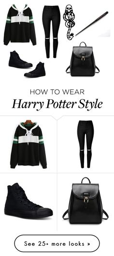 """i'm slytherin"" by pati0402 on Polyvore featuring mark., Converse, black, GREEN, SNAKE and Wand"