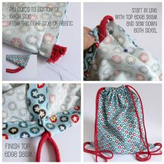 DIY: drawstring bag (for toy/other storage...making several with different coordinating fabric so the kids would know which bag when with which toy and hanging them on hooks on the wall would be cute)