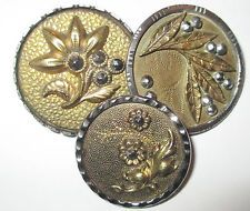 Lot of 3 Exceptional Antique Brass in Steel Cup Buttons - Flowers w Cut Steels