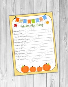 Pumpkin fall Baby shower games wishes for baby Printable INSTANT DOWNLOAD  UPrint  by greenmelonstudios pumpkin baby shower by greenmelonstudios on Etsy