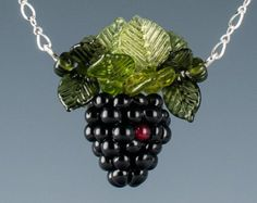 Single Blackberry and Leaves Necklace with realistic glass lampwork beads.  A treasured gift for your favorite foodie or blackberry lover.