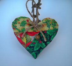 Holiday Lavender Heart; $8 Botanical Holiday Sachet; Red, Green, Gold Organic French Lavender Pillow - Scented Home Decor, Teacher Gift by DesignsbyChristine on Etsy
