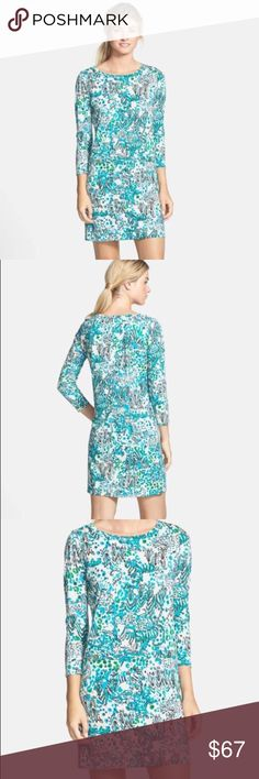 NWOT Lilly Pulitzer wild animal print sheath dress It's new. Never worn but tag has been removed. Size is large. Pima cotton. Very soft. Long sleeves. Lilly Pulitzer Dresses
