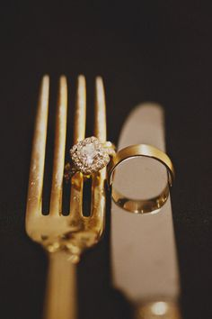 ring shot idea (gold cutlery) - Santa Barbara Wedding at the Bacara Resort from Christine Farah Photography Gold Wedding, Wedding Jewelry, Dream Wedding, Wedding Vintage, Wedding Engagement, Wedding Bands, Engagement Rings, Wedding Ring, Wedding App