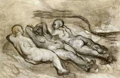 Honoré Daumier, Study of three naked women lying at the foot of a cliff on ArtStack #honore-daumier #art