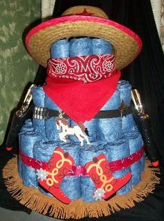 Cowboy with guns diaper cake  ~www.4cyourdreams.com