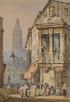 A continental street scene By Samuel Prout