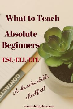 Beginner English; beginner ESL teaching ideas; ESL, ELL teaching checklist
