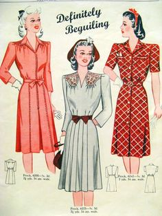 Love these 1940s dress patterns.