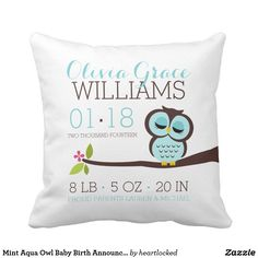 Mint Aqua Owl Baby Birth Announcement