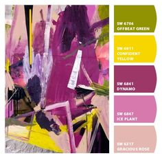 fun abstract modern hot bright bold purples greens yellows plums artsy party sophisticated palette fashion scheme Paint colors from #ChipIt! by #SherwinWilliams
