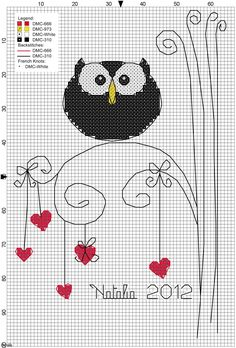 owl cross stitch make owl out of beads, then put on canvas with the hearts and limbs drawn