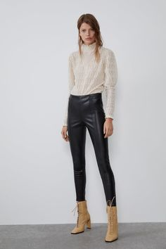 ZARA - Female - Faux leather leggings - Black - S Zara Trousers, Trousers Women, Pants For Women, Cropped Tops, Leggings Are Not Pants, Women's Leggings, Women's Pants, Saint Laurent Paris, Faux Leather Leggings