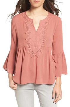 Chloe & Katie Embroidered Peplum Peasant Top available at Peasant Tops, Tunic Tops, Fancy Blouse Designs, Denim And Lace, Trendy Clothes For Women, Red Blouses, Embroidered Blouse, Fashion Over 50, Feminine Style