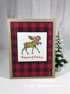 The Merry Moose stamp set & coordinating Moose Punch make for easy Christmas! Other Products: Buffalo Check Backgound stamp, Real Read, Basic Black, cardstock & inks; Crumb Cake cardstock & Soft Suede Stampin' Blends for moose. Stamped Christmas Cards, Homemade Christmas Cards, Stampin Up Christmas, Christmas Cards To Make, Xmas Cards, Homemade Cards, Handmade Christmas, Holiday Cards, Christmas Moose