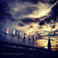 Stadium Lights at Cleveland Indians Baseball Game at by E2arts, $10.00