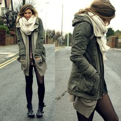 Infinity scarf, combat boots or oxfords, oversized cardigan, stockings, plaid or chambray button down, shorts, jacket