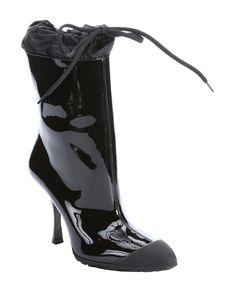 black patent leather rubber cap toe rain boots
