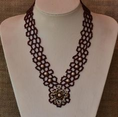 Burgundy Beaded Necklace Pattern by Cecilia Rooke at Bead-Patterns.com