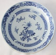 "big 11,1"" chinese plate porcelain pottery 18th c century antique 28,3 cm blue"