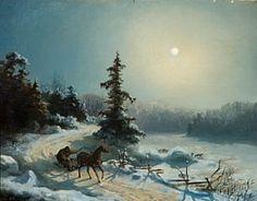 "Hans Gude (1825-1903): ""Måneskinnslandskap med slede"" 1842"