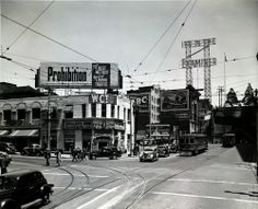 """""""Prohibition: The Best Method Against Liquor Traffic"""" Looking north at The Womens Temperance Christian Union building at Temple and Broadway, 1939. The Broadway Tunnel can be seen in the background. Everything pictured here is gone (including the tunnel), demolished to make way for Civic Center expansion."""