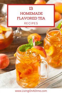 Homemade iced tea is a refreshing drink, especially on hot summer days! These homemade flavored tea recipes give you a lot of variety for many tasty variations on iced tea! #homemadeteas #flavoredhomemadeteas #howtomakehomemadetea #refrigeratortea #cheapandeasytea #recipetea #blueberrytea #raspberrytea #olivegardentea #peachtea #orangetea #strawberryicedtea #easypeachtea #mintlimetea #jollyranchertea #citrustea #tropicalorangetea Fruit Tea Recipes, Iced Tea Recipes, Fruit Drinks, Smoothie Drinks, Beverages, Smoothies, Alcoholic Desserts, Bar Drinks, Cold Drinks