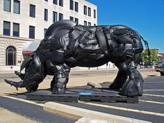 Recycling Tires - hippo sculpture